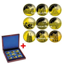 Lot de 9 Pièces Châteaux et Cathédrales de France dorée à l'or fin 24 carats + Le coffret OFFERT