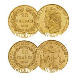 Lot des 2 x  20 Francs Or 1848 A