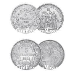 Lot des 2 x 5 Francs Argent IIème République
