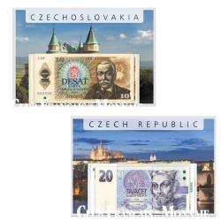 Lot des 2 séries de billets République Tchèque et Tchécoslovaquie
