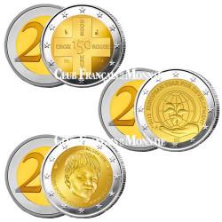 Le lot des 3 x 2 Euro BU Belgique