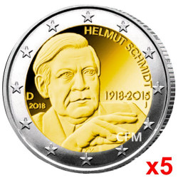 5 x 2 Euro Allemagne 2018