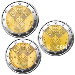 Lot des 3 x 2€ Pays-Baltes - 100 ans de l'indépendance des États baltes
