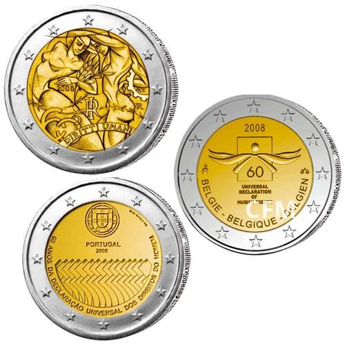 Lot des 3 x 2 Euro 2008 -  Droits de l'Homme