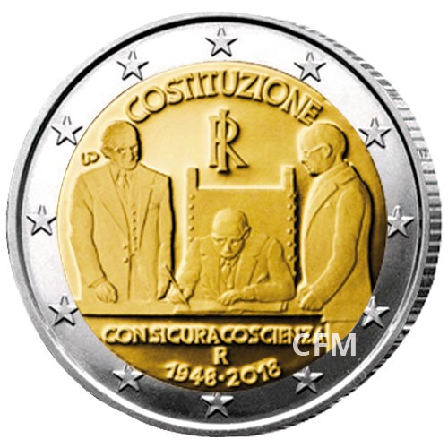 2 Euro Italie BU 2018 - 70 ans de la constitution