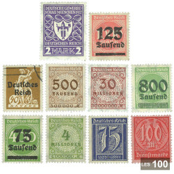 100 timbres Allemagne hyperinflation 1920