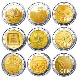 Lot des 9 x 2 Euro Malte