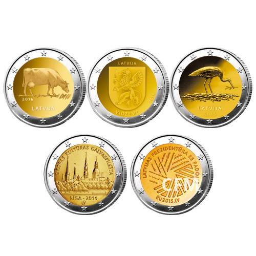Lot des 5 x 2 Euro Lettonie