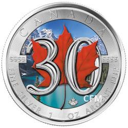 5 Dollars Argent Canada BU 2018 colorisée - 30 ans de la Maple Leaf