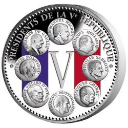 Pièce Présidents Argent BE colorisé - 8 Présidents de la Vème République