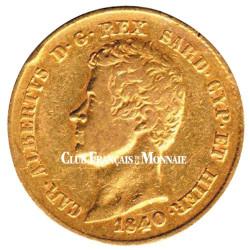 20 Lires Or Italie 1831-1849 - Charles Albert