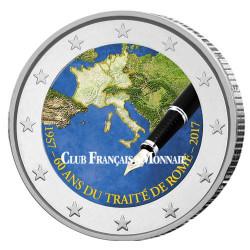 2 Euro enduite 60 ans du Traité de Rome colorisée