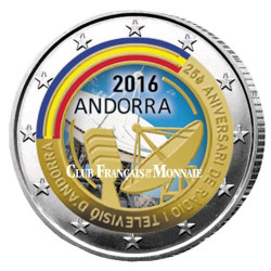 2 Euro Andorre 2016 colorisée - 25 ans de la radio et de  la télévision d'Andorre