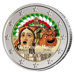 2 Euro Italie 2016 colorisée - 200 ans  de la mort de Plaute
