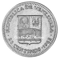 25 centimes Venezuela 1965 - Simón Bolivar