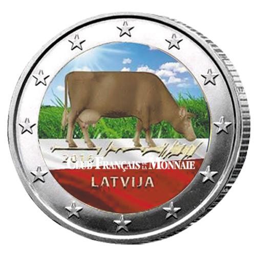 2 Euro Lettonie 2016 colorisée - Brune de Lettonie