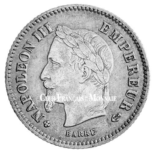 20 centimes Argent Napoléon III Tête Laurée