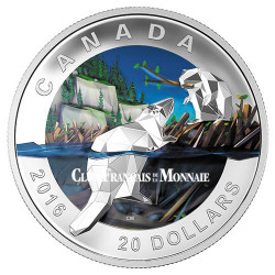 20 Dollars Argent Canada BE 2016 colorisée - Castor