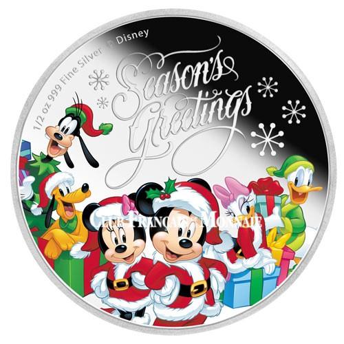 1 Dollar Argent BE 2016 colorisée - Joyeux Noël Mickey !