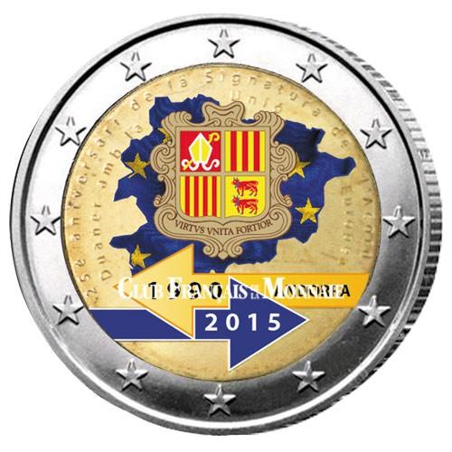 2 Euro Andorre 2015 colorisée - 25 ans de l'union douanière