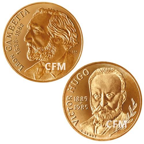 Lot des 2 x 10 Francs : 10 Francs Gambetta 1982 - Centenaire de sa mort et 10 Francs Victor Hugo 1985 - Centenaire de sa mort