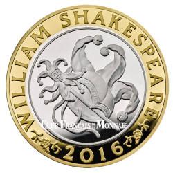 """2 Livres Argent Royaume-Uni  BE 2016 - Shakespeare """"Comédies"""""""