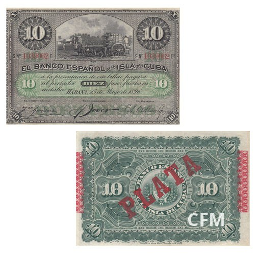 Billet de 10 Pesos Cuba 1896 - Canne à Sucre