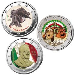 Lot des 3 x 2 euro Italie colorisée