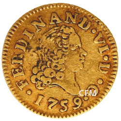 1/2 Escudo Or Espagne 1748-1759 Ferdinand VI