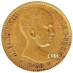 20 Pesetas Or Espagne 1887-1890 Alfonso XIII - Bébé