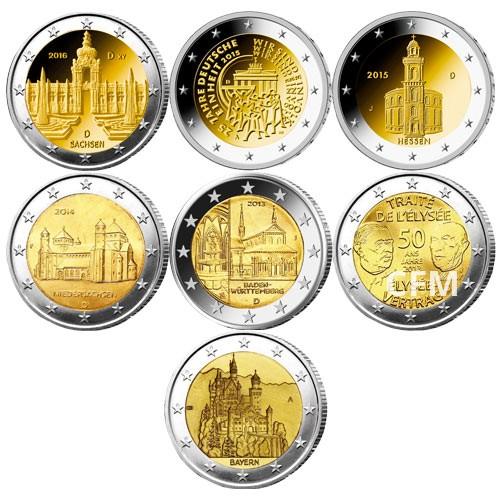 Lot des 13 x 2 Euro Allemagne