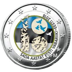 2 Euro Estonie 2018 colorisée - 100 ans de l'indépendance