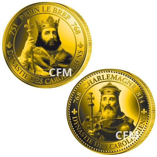 Lot des  2 pièces commémoratives : Pépin le Bref et Charlemagne