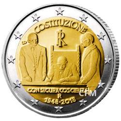 2 Euro Italie 2018 - 70 ans de la Constitution