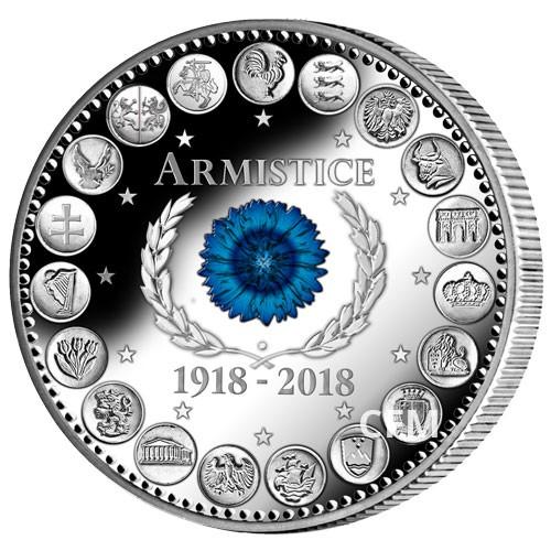 Euro Argent BE 2018 colorisé - Centenaire de l'Armistice