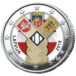 2 Euro Lettonie 2018 colorisée - 100 ans des Pays Baltes