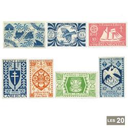 20 timbres France Libre