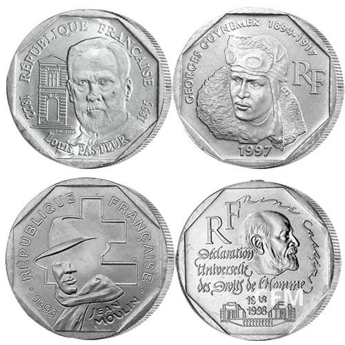 Lot de 4 pièces de 2 Francs commémoratifs