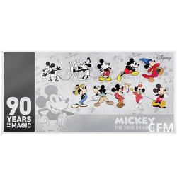 Billet 1 Dollar Argent colorisé 2018 - 90 ans Mickey™