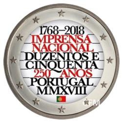2 Euro Portugal 2018 colorisée - 250 ans de l'imprimerie nationale