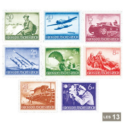 13 timbres IIIème Reich 1944