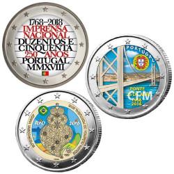 Lot des 3 x 2 Euro Portugal colorisées