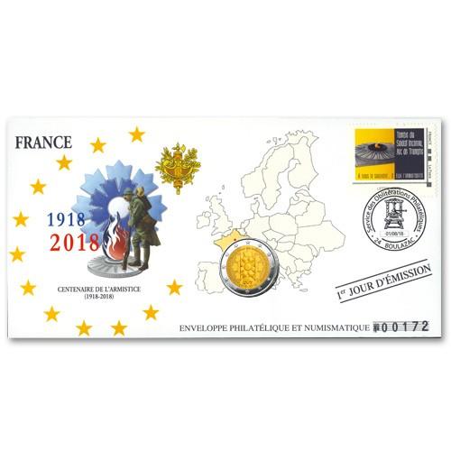 """Enveloppe """"1er jour"""" d'émission 2 Euro France 2018 Centenaire de l'Armistice"""