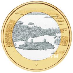 5 Euro Finlande 2018 - Paysages finlandais - Olavinlinna et lac Pihlajavesi