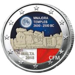 2 Euro Malte 2018 colorisée - Temples de Mnjadra