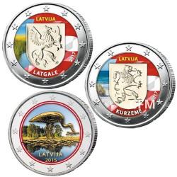 Lot 3 x 2 Euro Lettonie colorisée 2015/2017