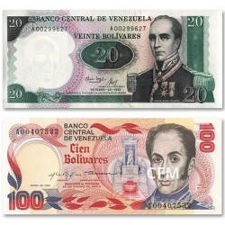 Set de 2 billets Venezuela 1980-1987