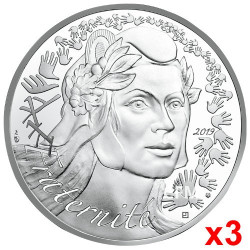 Lot de 3 x 20 Euro Argent France 2019 - Marianne Fraternité