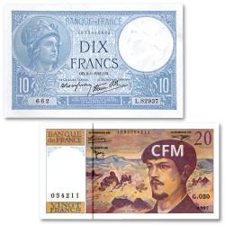 Lot des 2 billets 10 Francs + 20 Francs