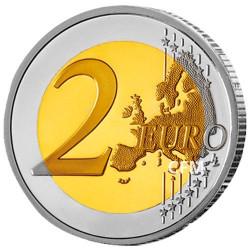 Lot des 2 x 2 Euro Malte 2018 colorisées